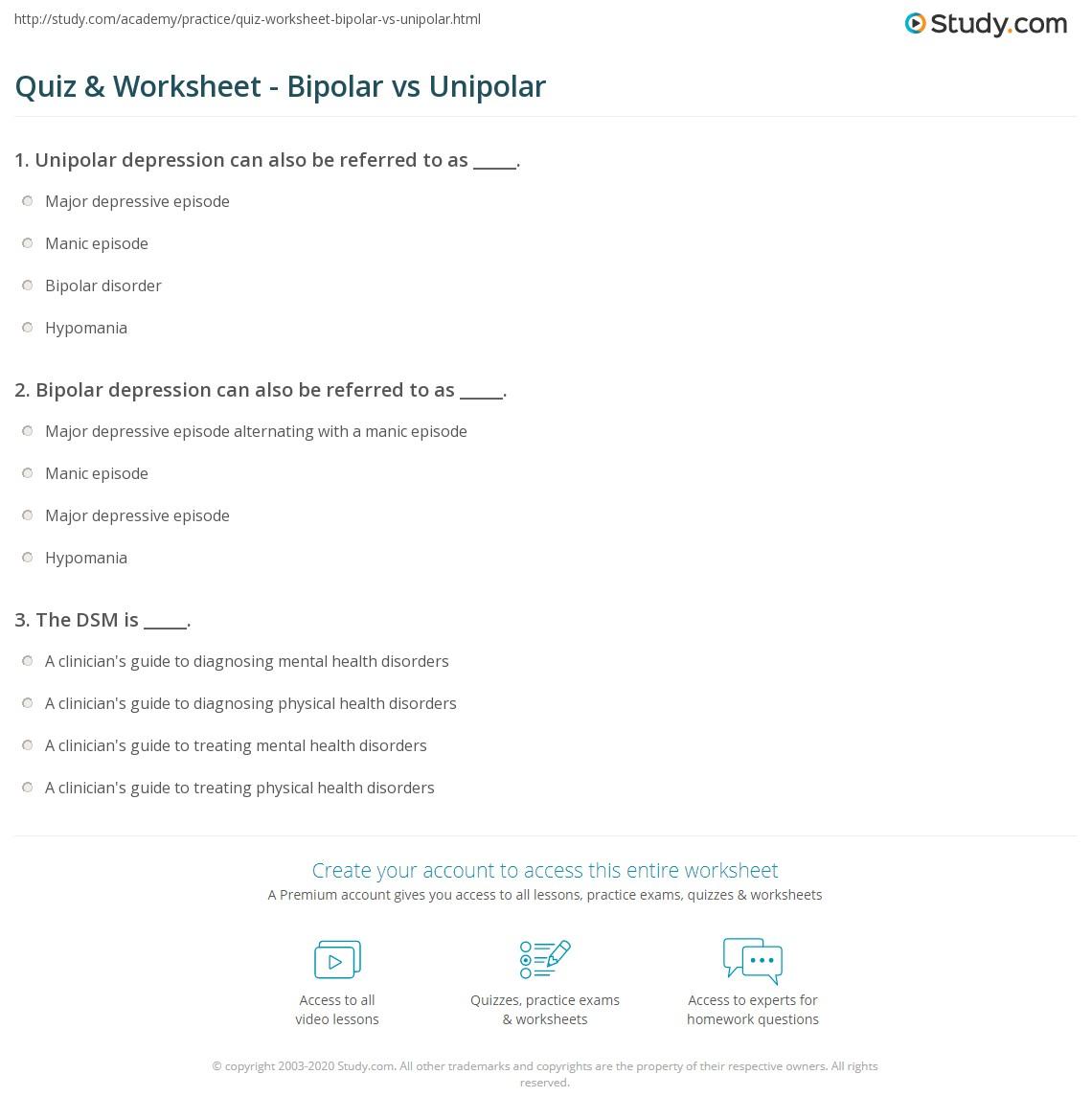 quiz & worksheet - bipolar vs unipolar | study