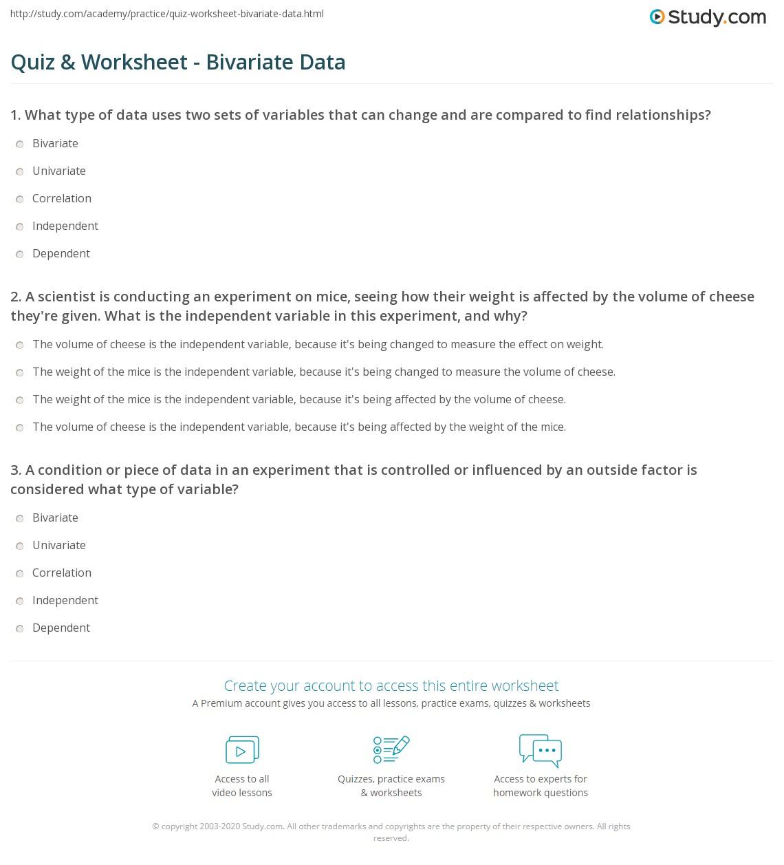 quiz worksheet bivariate data. Black Bedroom Furniture Sets. Home Design Ideas