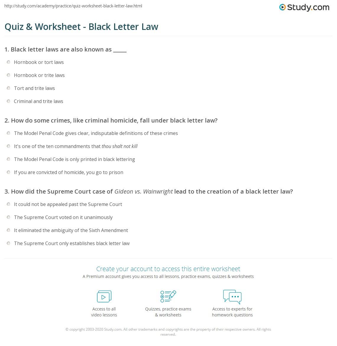 Quiz & Worksheet Black Letter Law