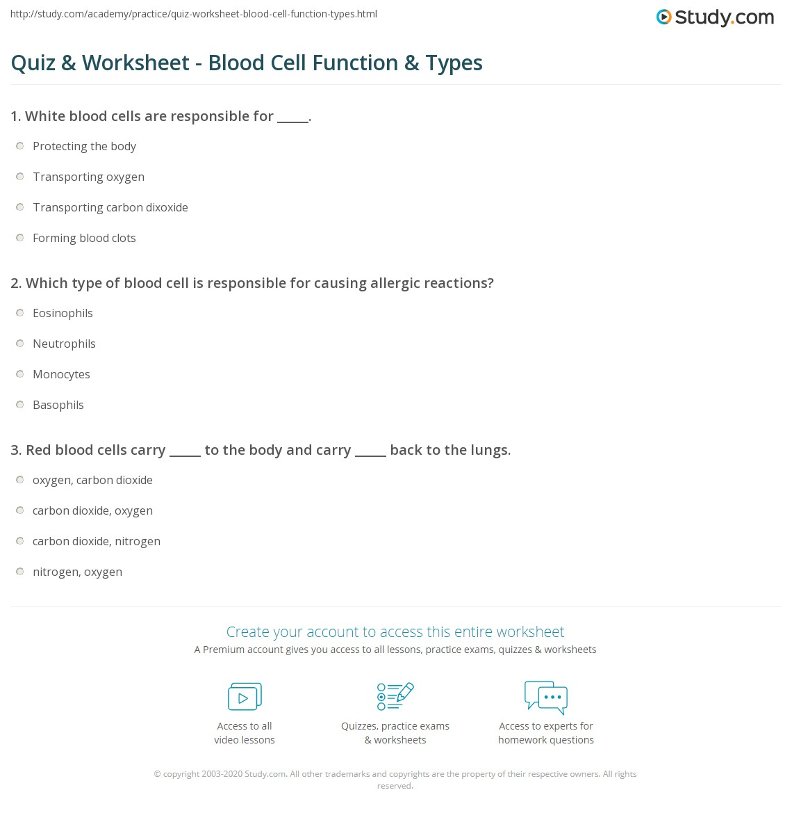 Worksheets Blood Typing Worksheet quiz worksheet blood cell function types study com print what are cells functions worksheet