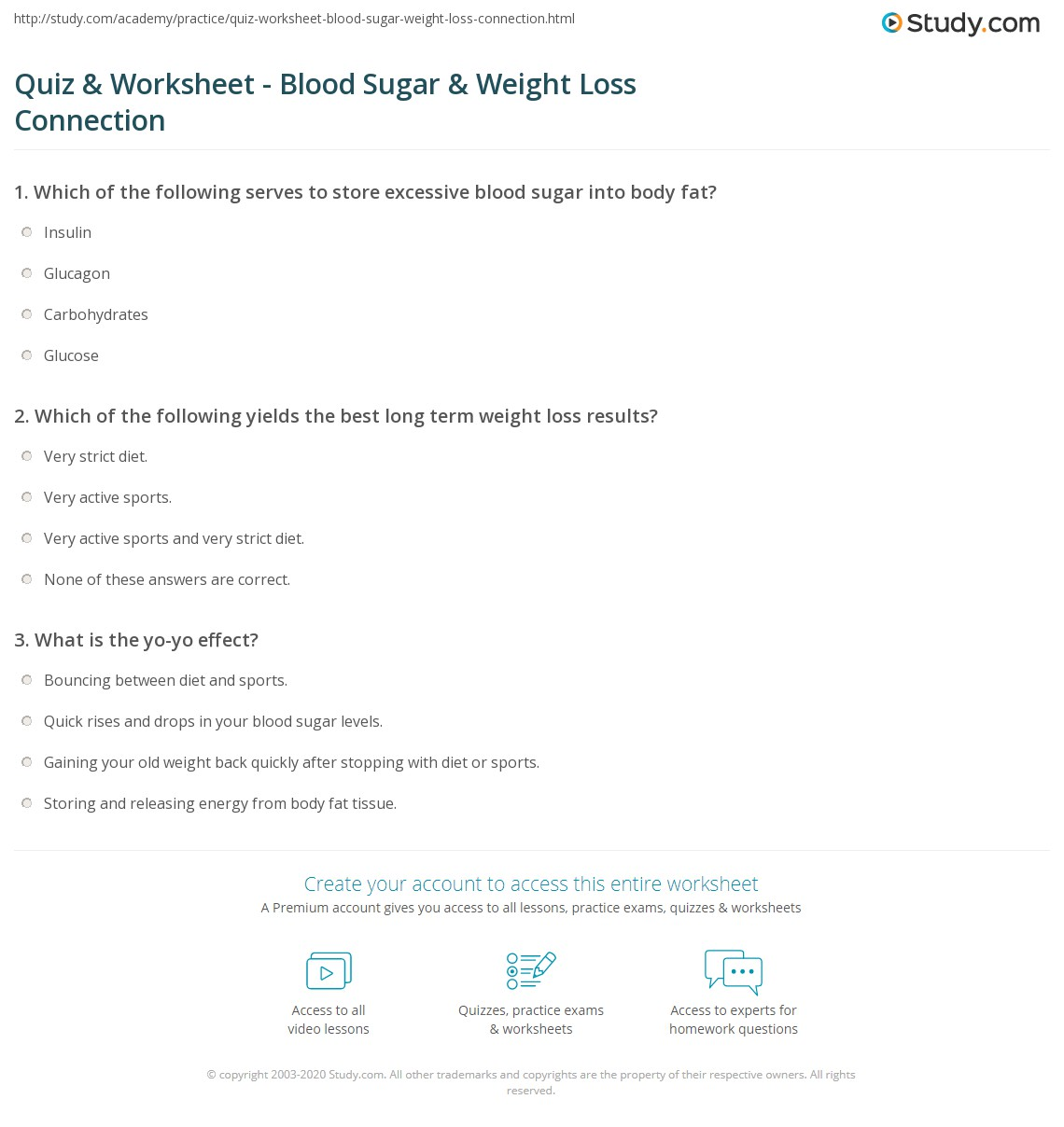 quiz worksheet blood sugar weight loss connection study com