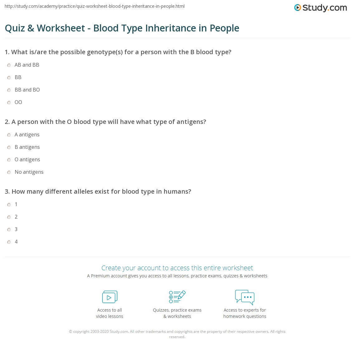 Worksheets Codominance Worksheet Blood Types Answers quiz worksheet blood type inheritance in people study com print humans worksheet