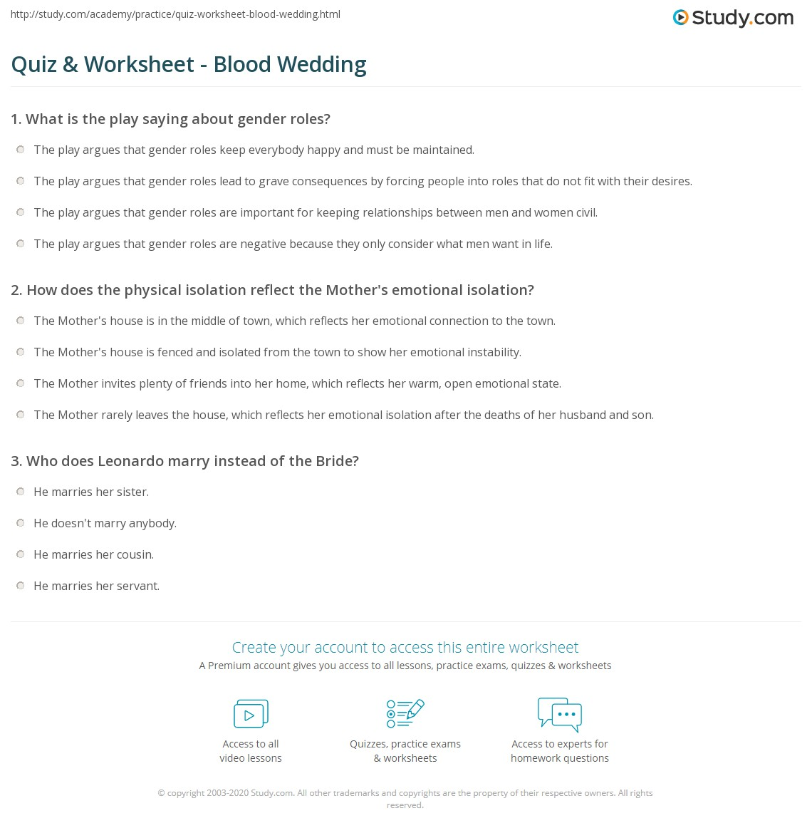 Print Blood Wedding Summary Characters Themes Ysis Worksheet