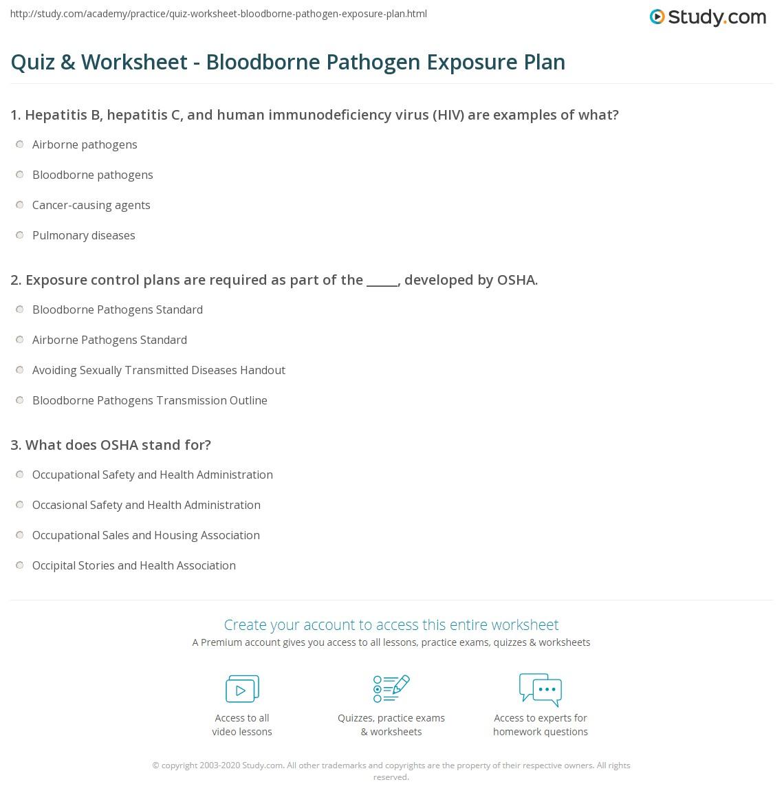 Quiz Worksheet Bloodborne Pathogen Exposure Plan Study