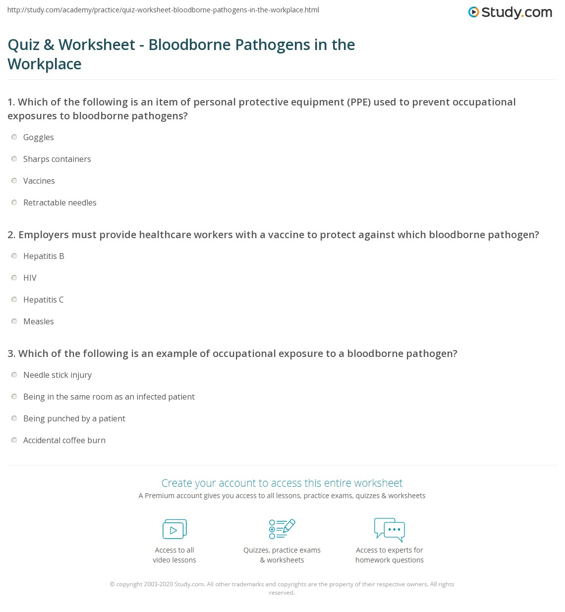 Quiz worksheet bloodborne pathogens in the workplace study print occupational exposure to bloodborne pathogens worksheet xflitez Gallery