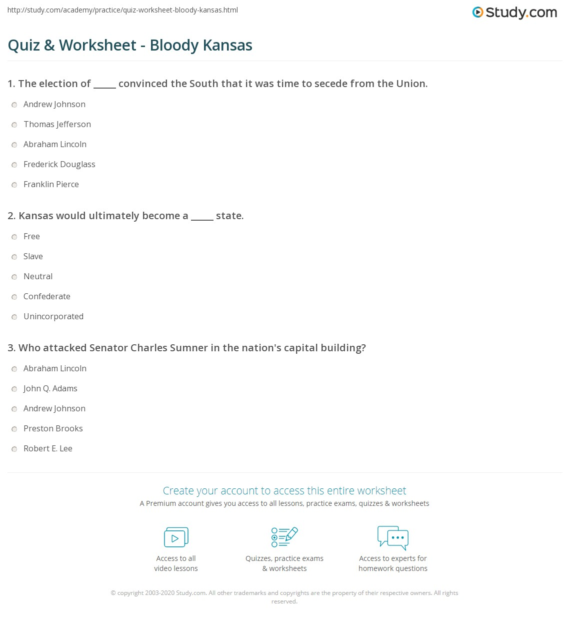 quiz worksheet bloody kansas. Black Bedroom Furniture Sets. Home Design Ideas