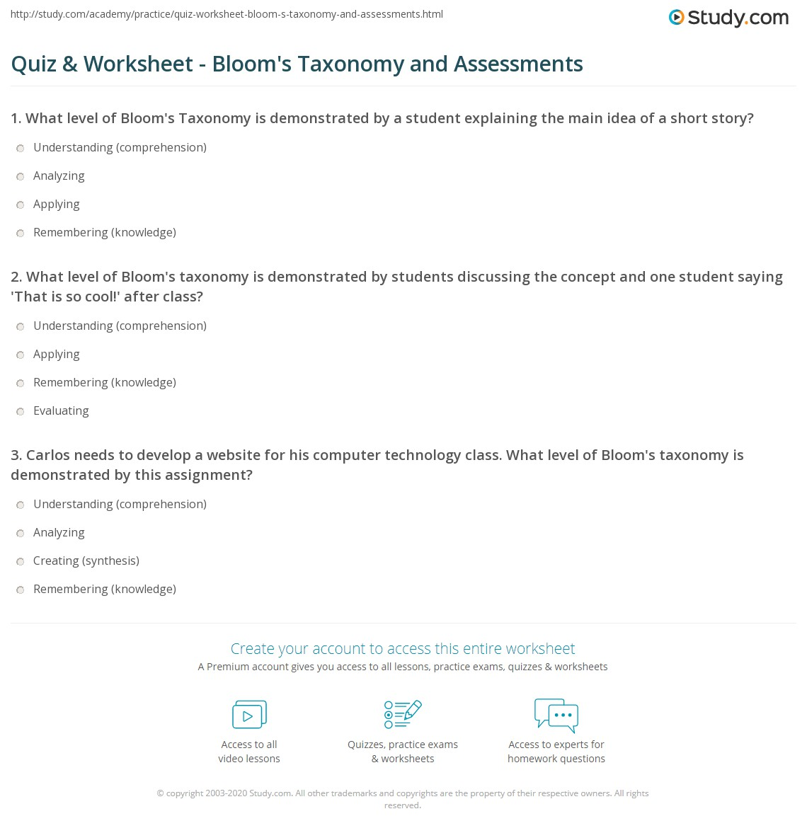quiz worksheet bloom 39 s taxonomy and assessments. Black Bedroom Furniture Sets. Home Design Ideas