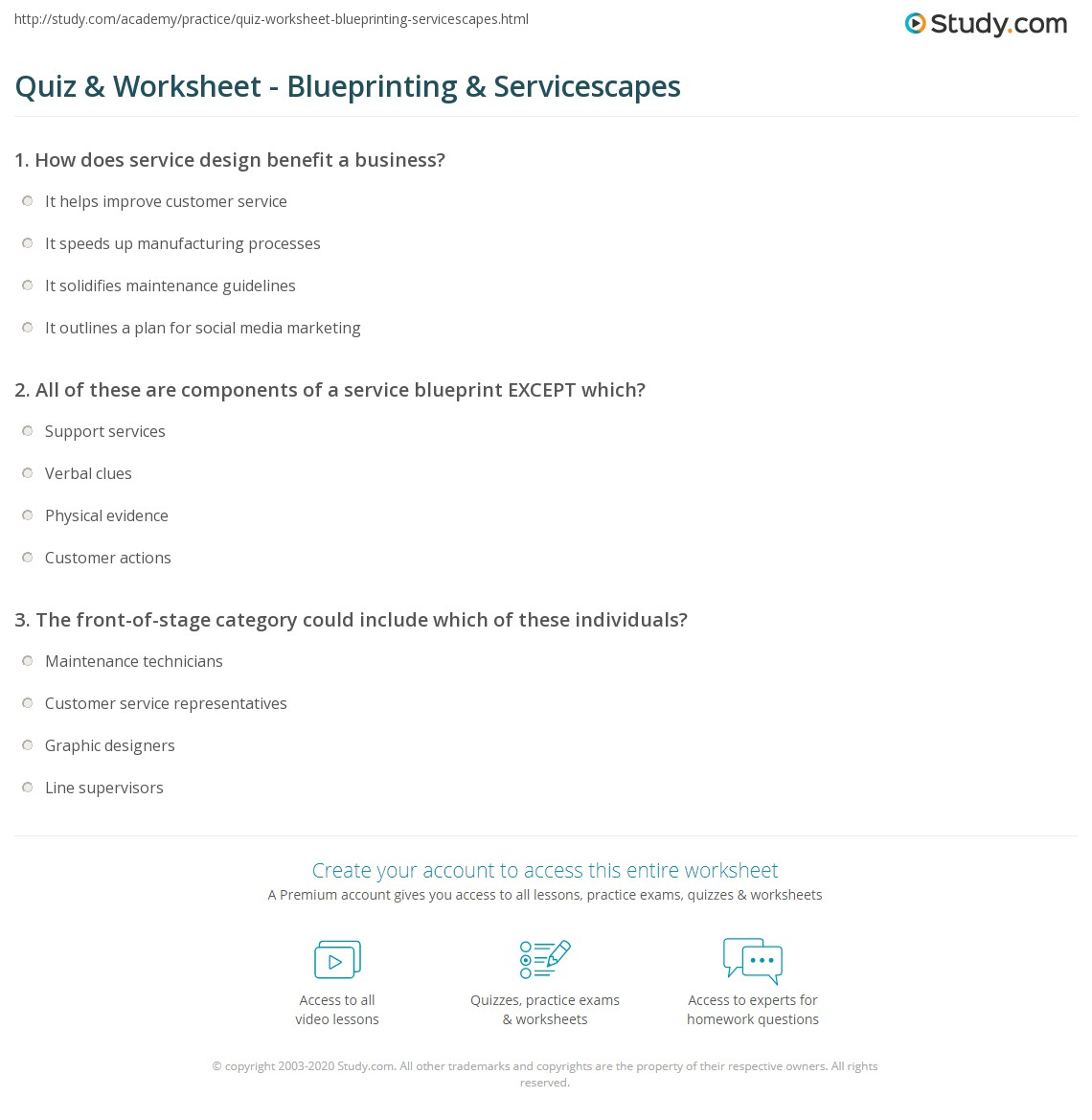 Quiz worksheet blueprinting servicescapes study all of these are components of a service blueprint except which malvernweather Gallery