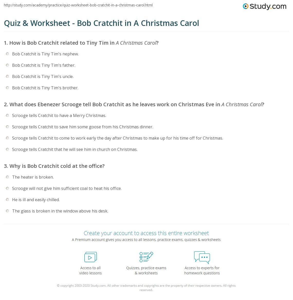 worksheet A Christmas Carol Worksheets quiz worksheet bob cratchit in a christmas carol study com print worksheet