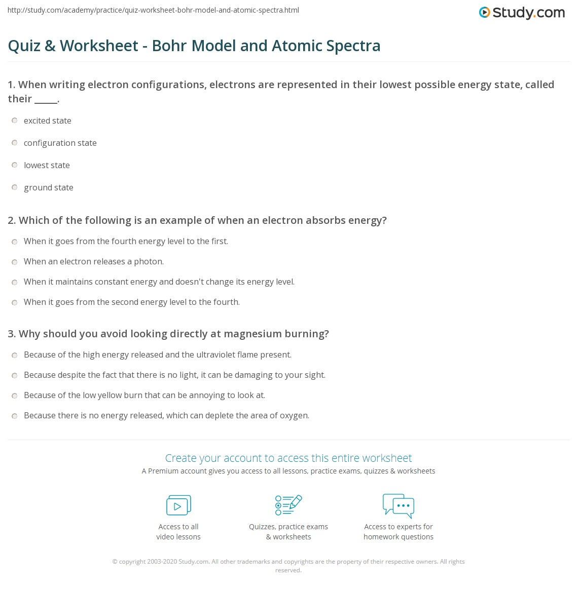 Quiz Worksheet Bohr Model And Atomic Spectra Study