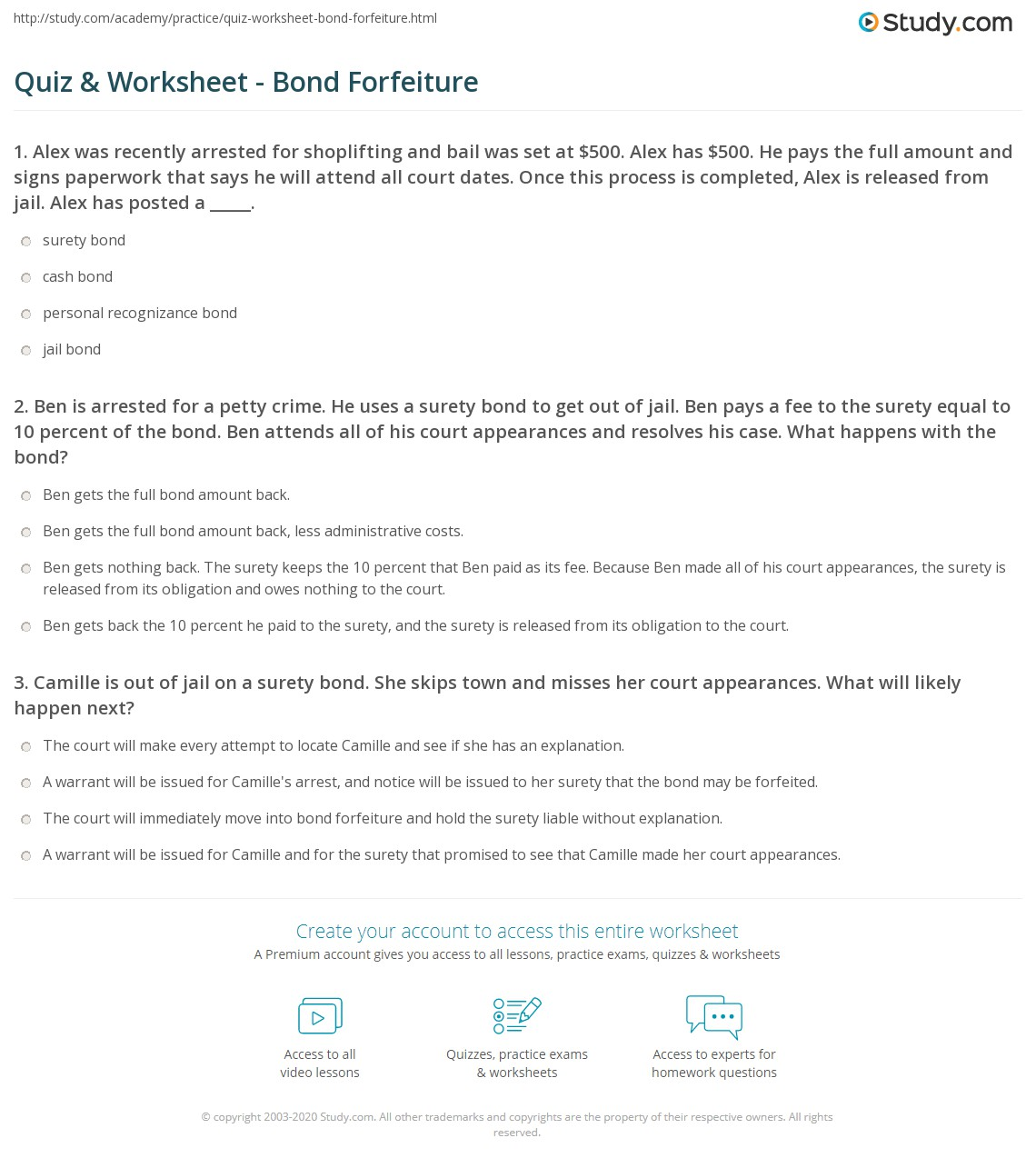 quiz & worksheet - bond forfeiture | study