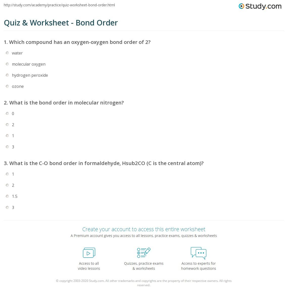 Quiz Worksheet Bond Order Study