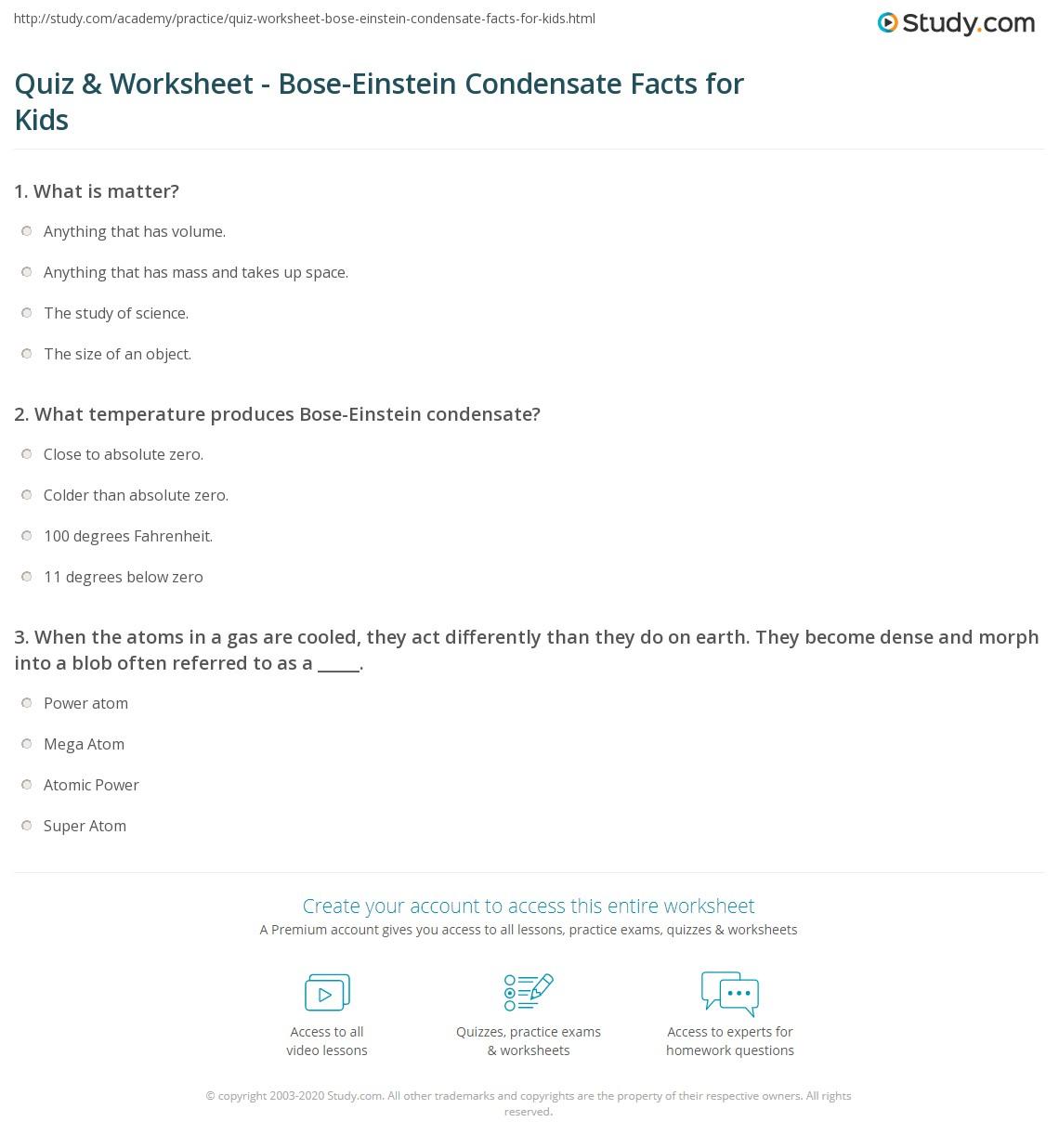 Quiz Worksheet Bose Einstein Condensate Facts For Kids Study