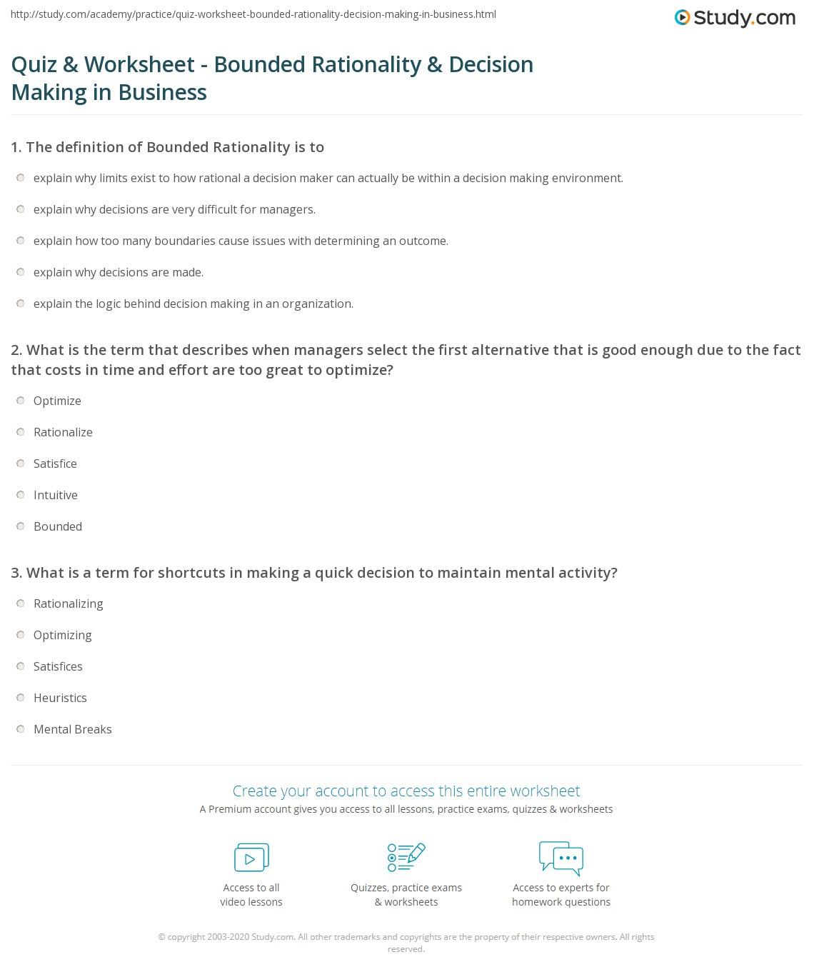 Free Worksheet Decision Making Skills Worksheets quiz worksheet bounded rationality decision making in print and organizations worksheet