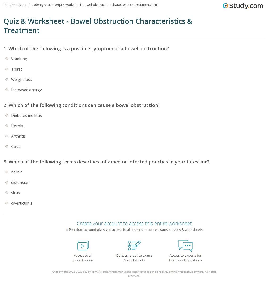 Quiz & Worksheet - Bowel Obstruction Characteristics & Treatment ...