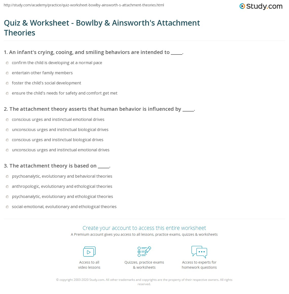 quiz worksheet bowlby ainsworth s attachment theories  print attachment theory definition criticism of bowlby ainsworth s theories worksheet