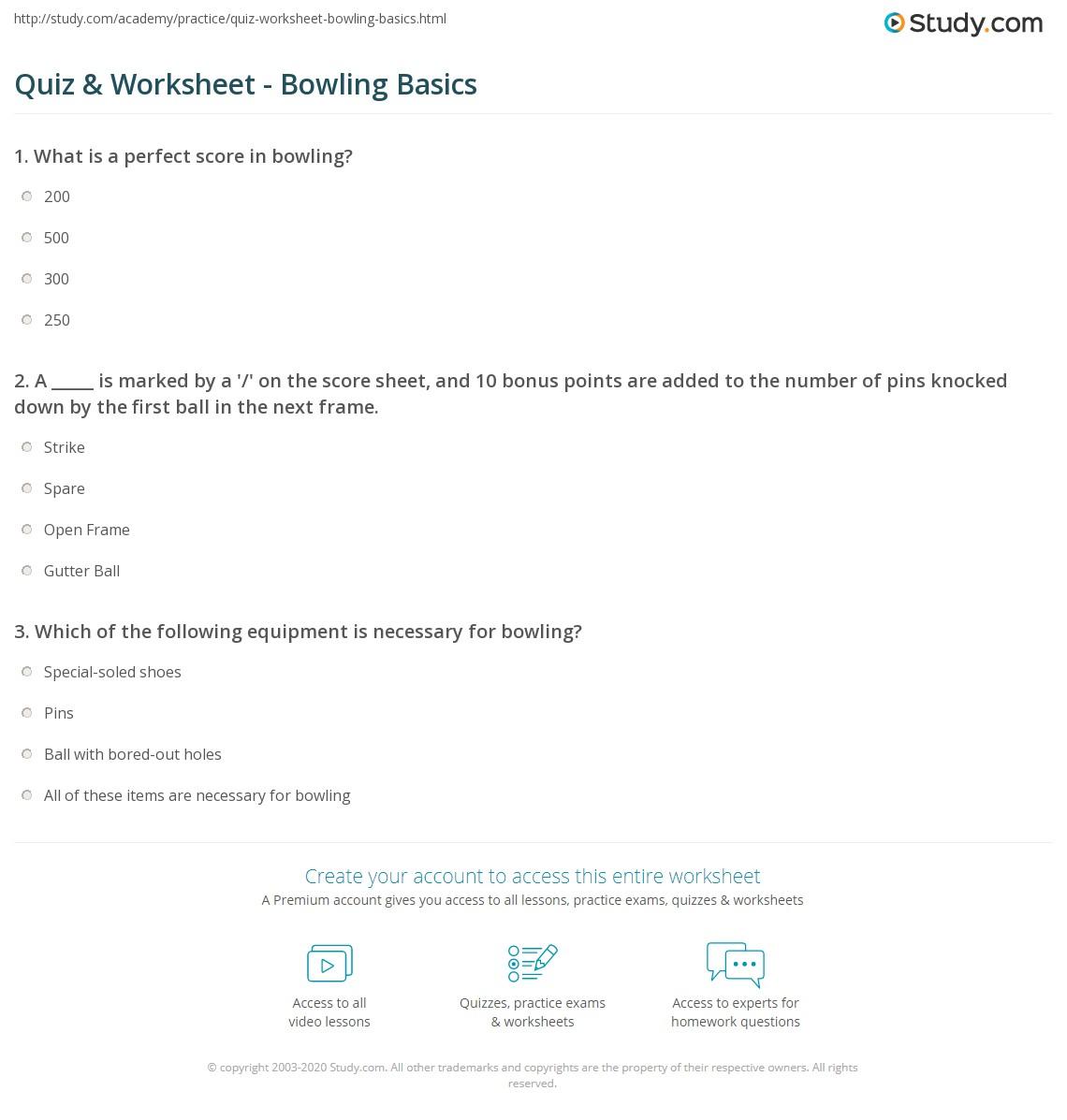 Quiz & Worksheet - Bowling Basics | Study.com