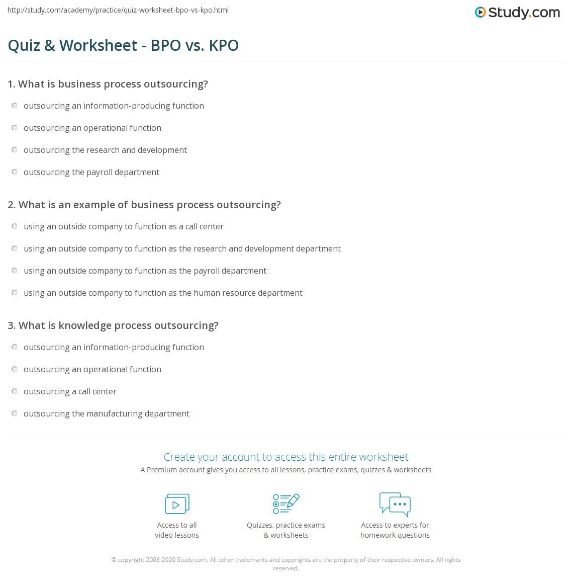 Quiz & Worksheet - BPO vs. KPO   Study.com