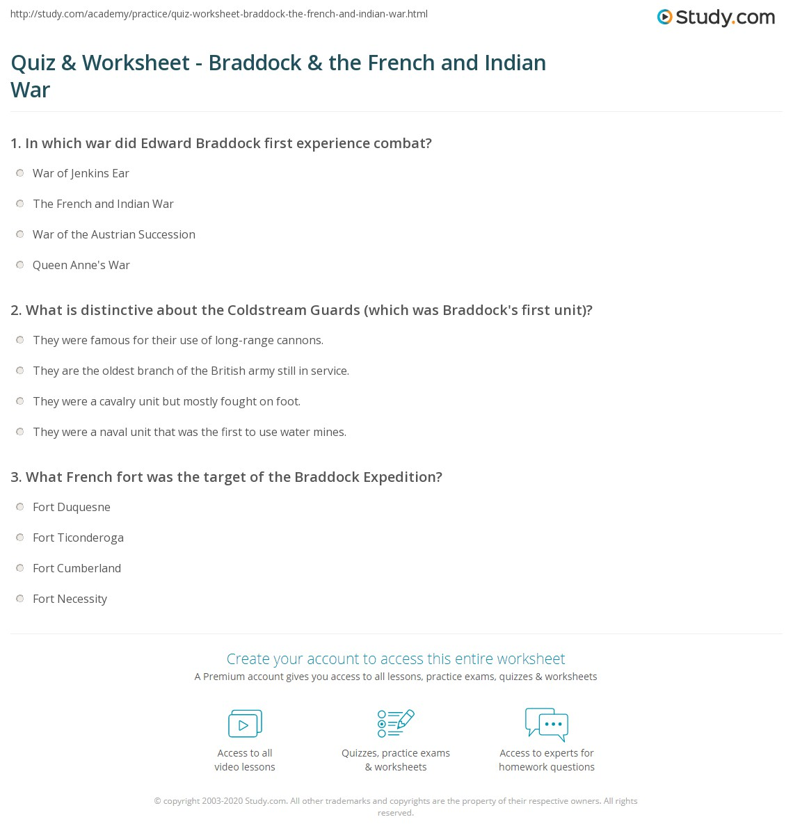 Quiz & Worksheet - Braddock & the French and Indian War   Study.com