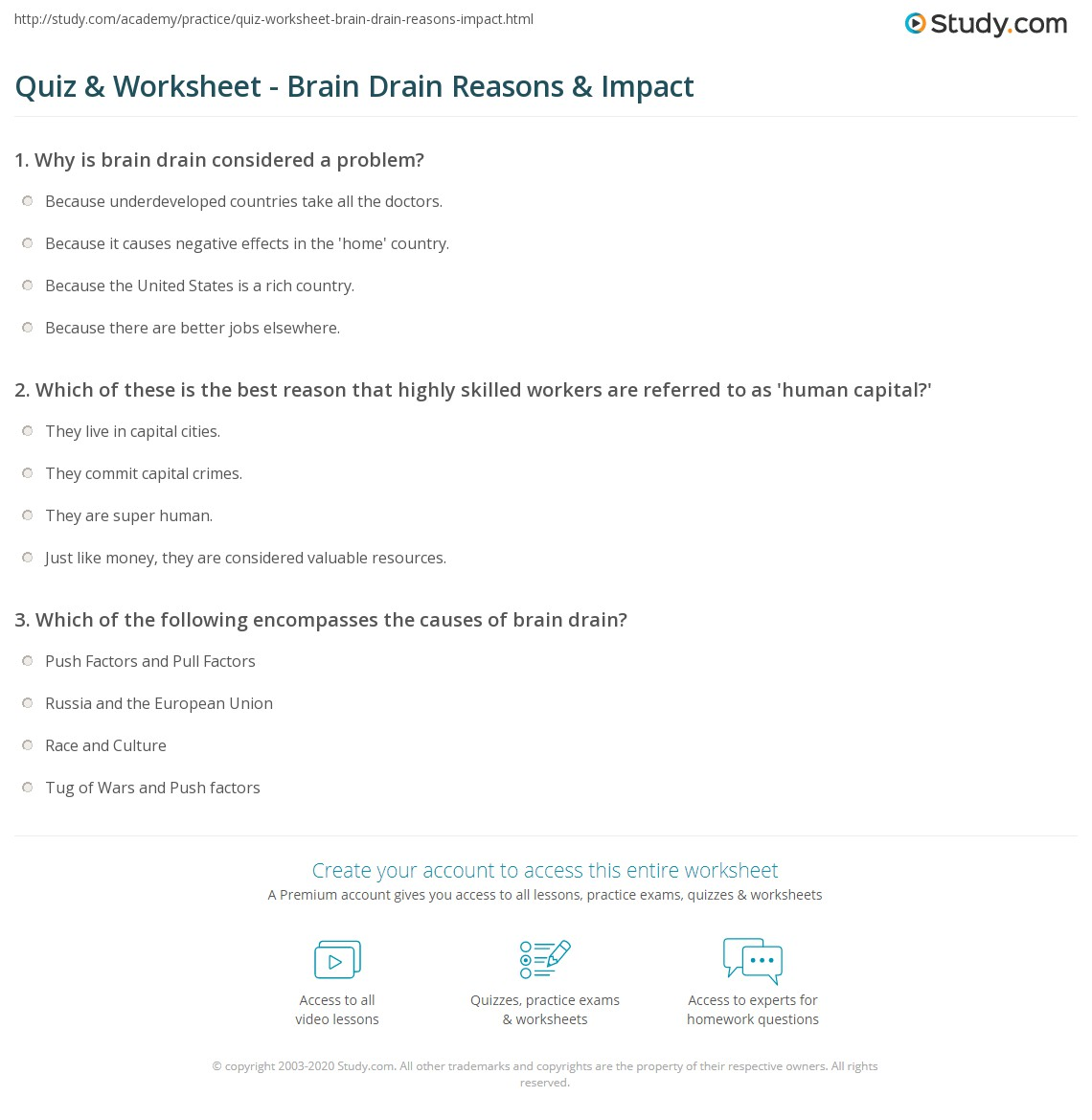 quiz worksheet brain drain reasons impact study com
