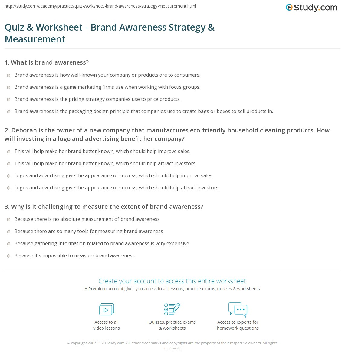 Quiz Worksheet Brand Awareness Strategy Measurement – Metrics and Measurement Worksheet