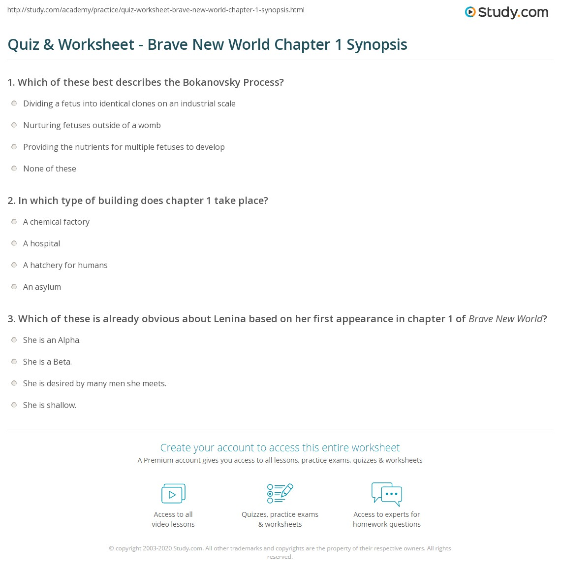 quiz worksheet brave new world chapter 1 synopsis study com rh study com brave new world study guide answers chapter 1 brave new world study guide answers chapter 1