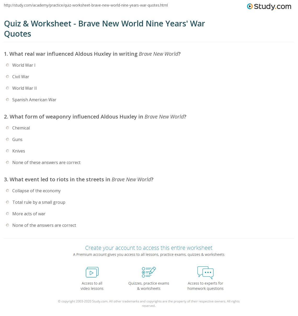 quiz worksheet brave new world nine years 39 war quotes. Black Bedroom Furniture Sets. Home Design Ideas