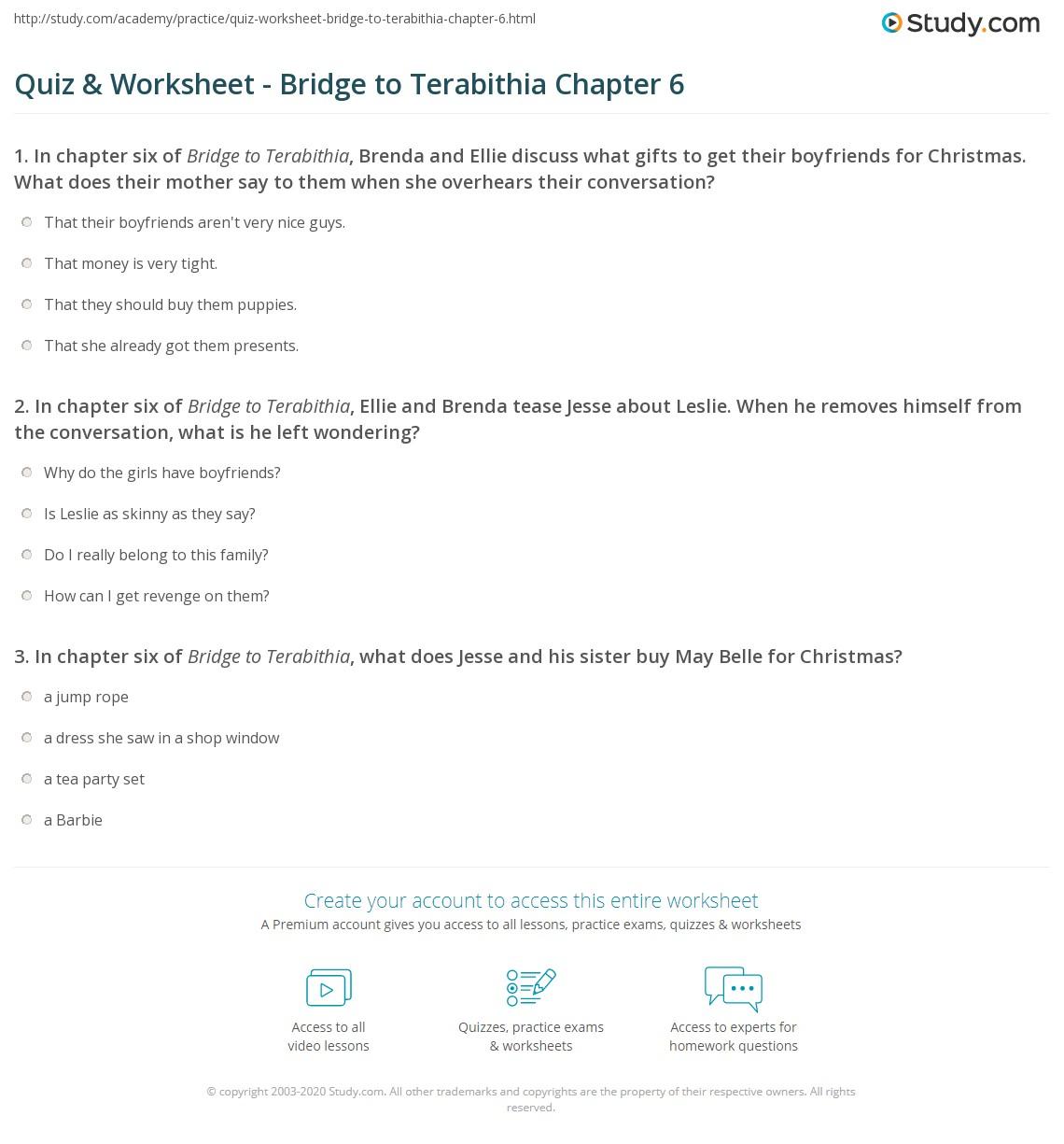 Quiz & Worksheet - Bridge to Terabithia Chapter 6   Study.com