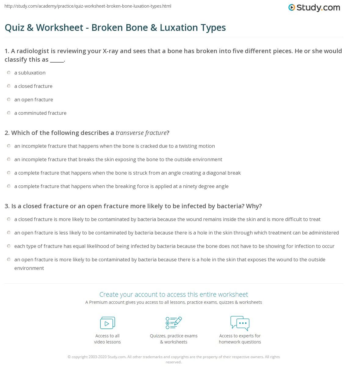 quiz worksheet broken bone luxation types. Black Bedroom Furniture Sets. Home Design Ideas