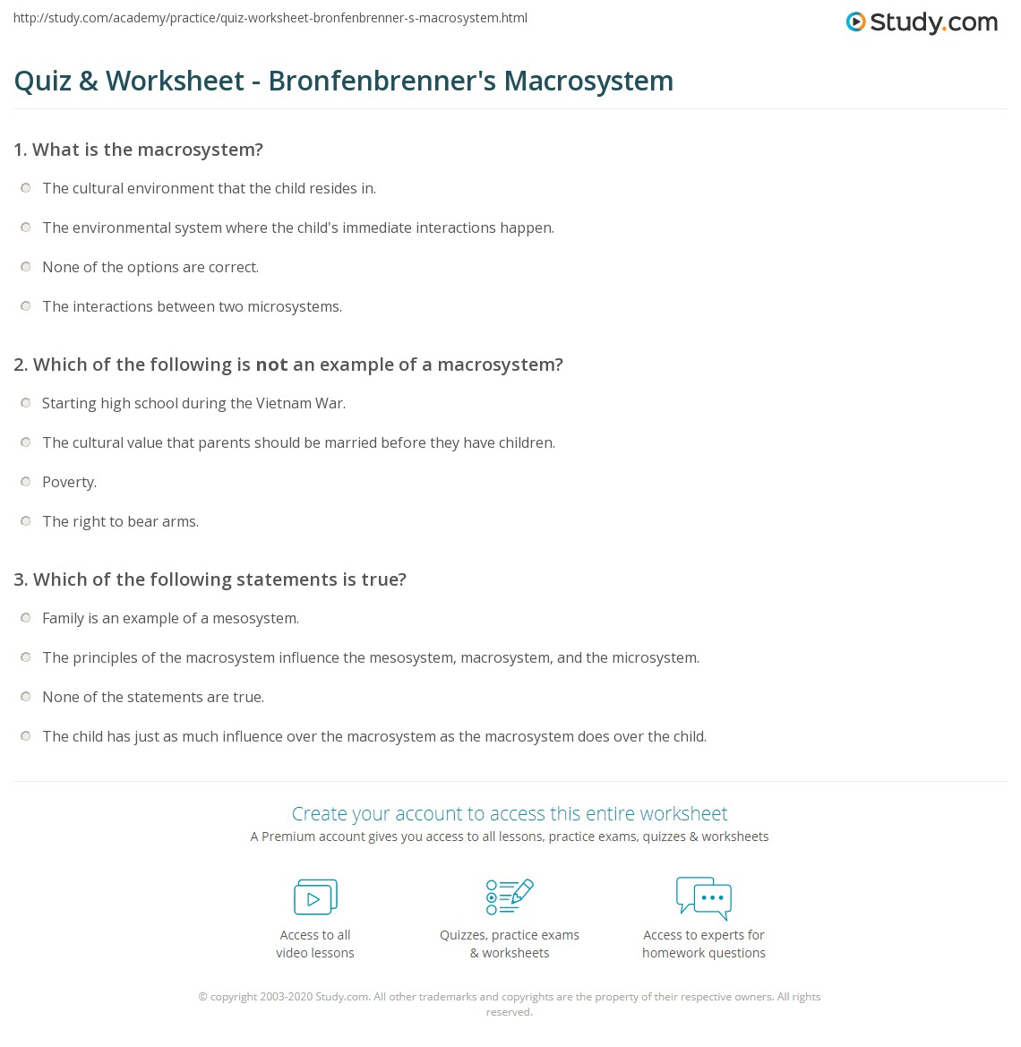 Quiz Worksheet Bronfenbrenners Macrosystem Study