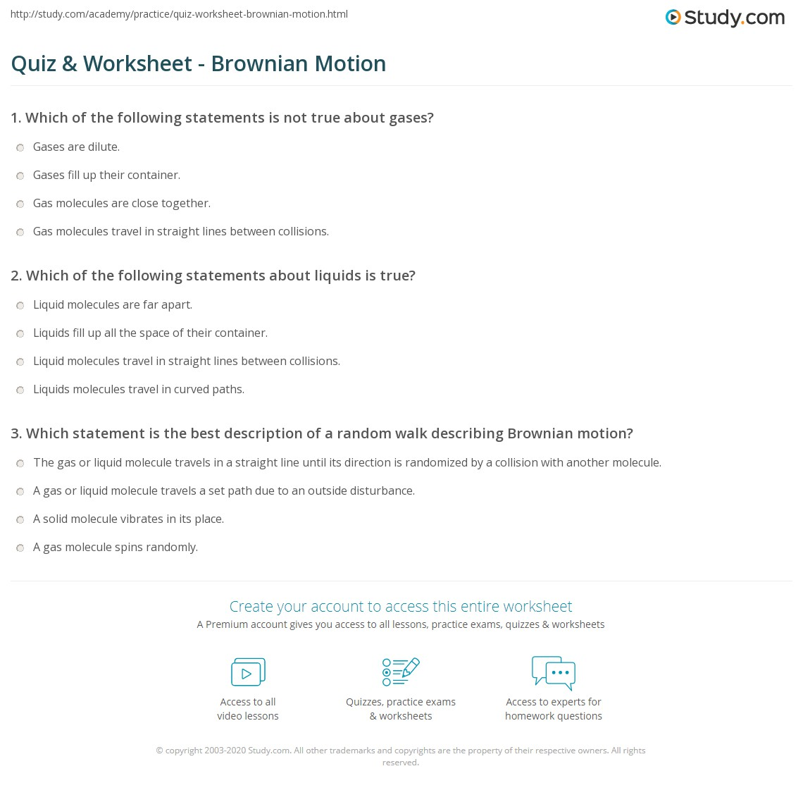 Quiz Amp Worksheet Brownian Motion Study Com