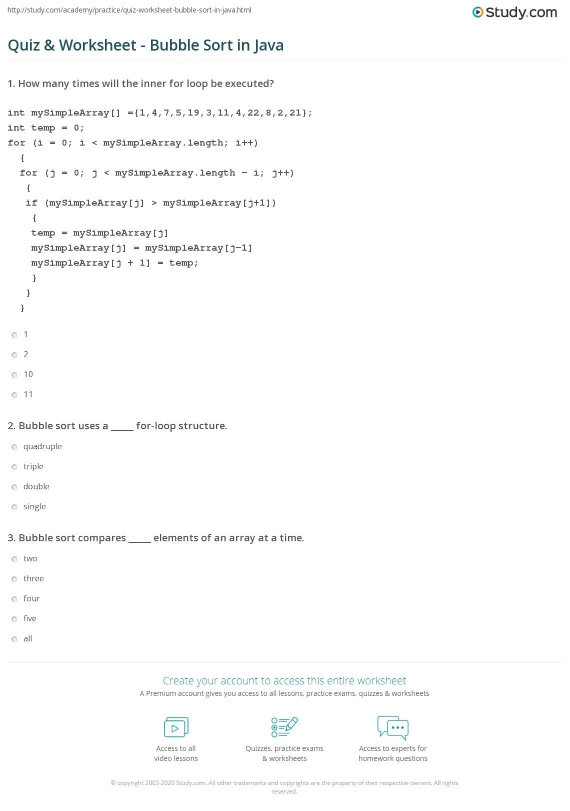 Quiz & Worksheet - Bubble Sort in Java | Study.com