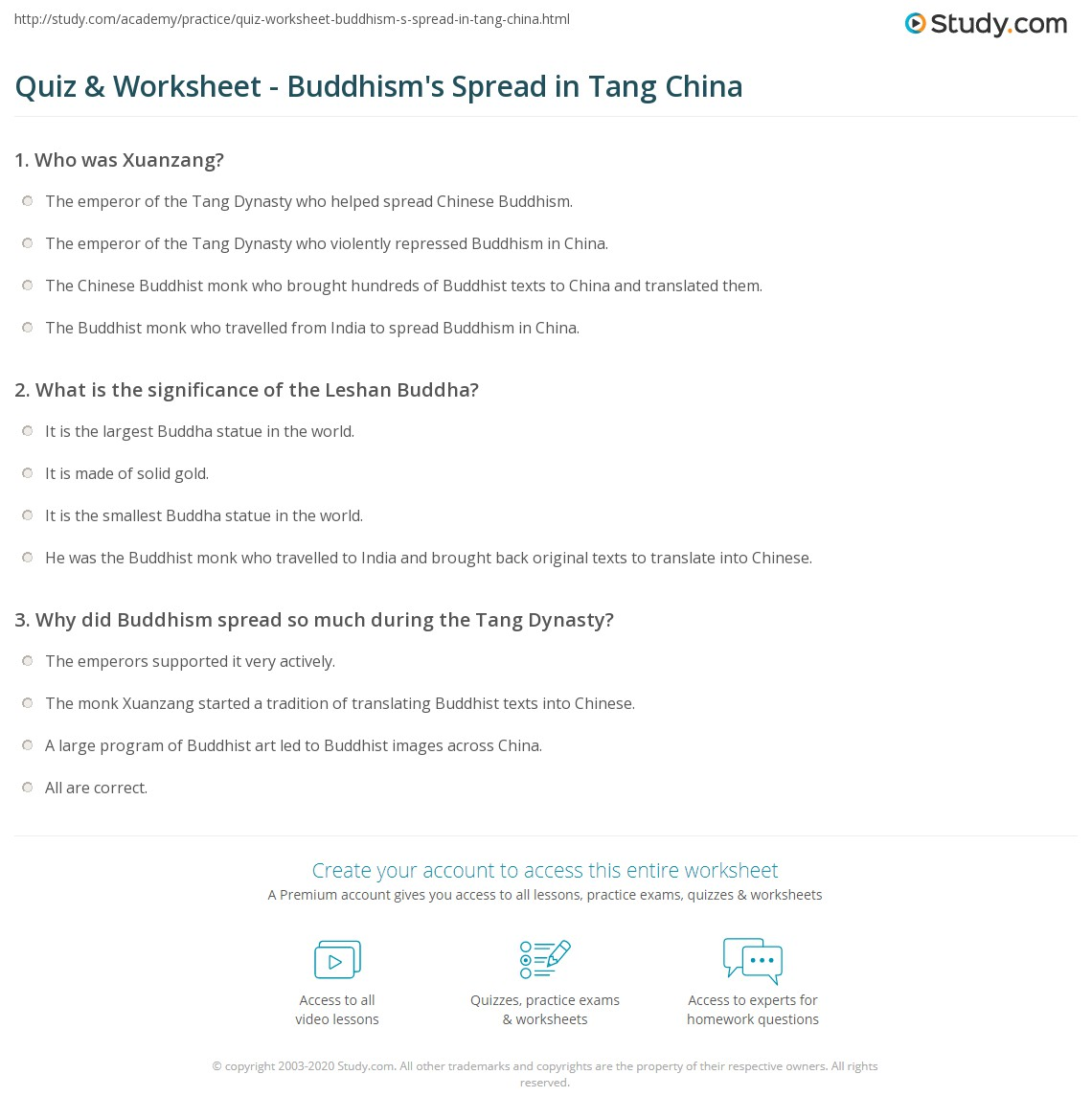 Quiz & Worksheet - Buddhism's Spread in Tang China | Study.com