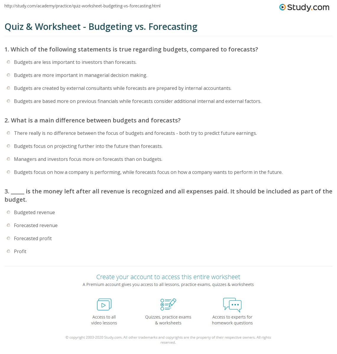 Quiz worksheet budgeting vs forecasting study print comparing budgeting forecasting worksheet ibookread PDF