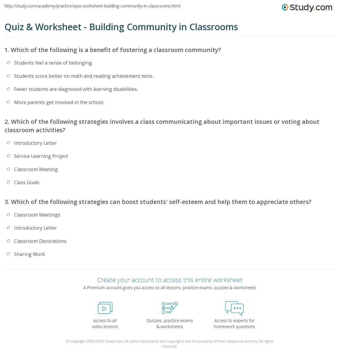 Quiz Worksheet Building Community in Classrooms – Self Esteem Building Worksheets