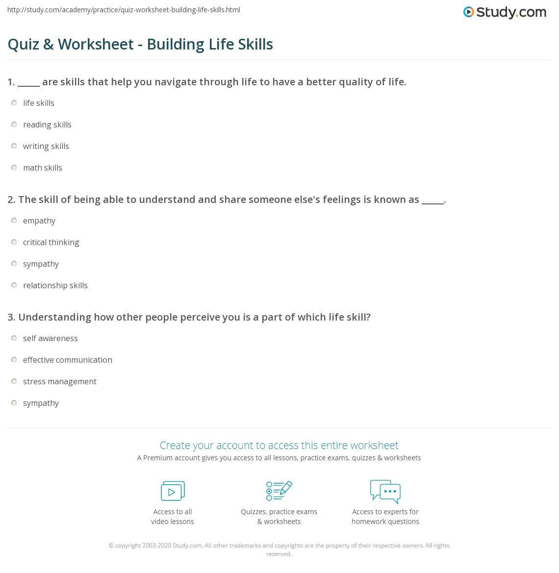 quiz worksheet building life skills. Black Bedroom Furniture Sets. Home Design Ideas