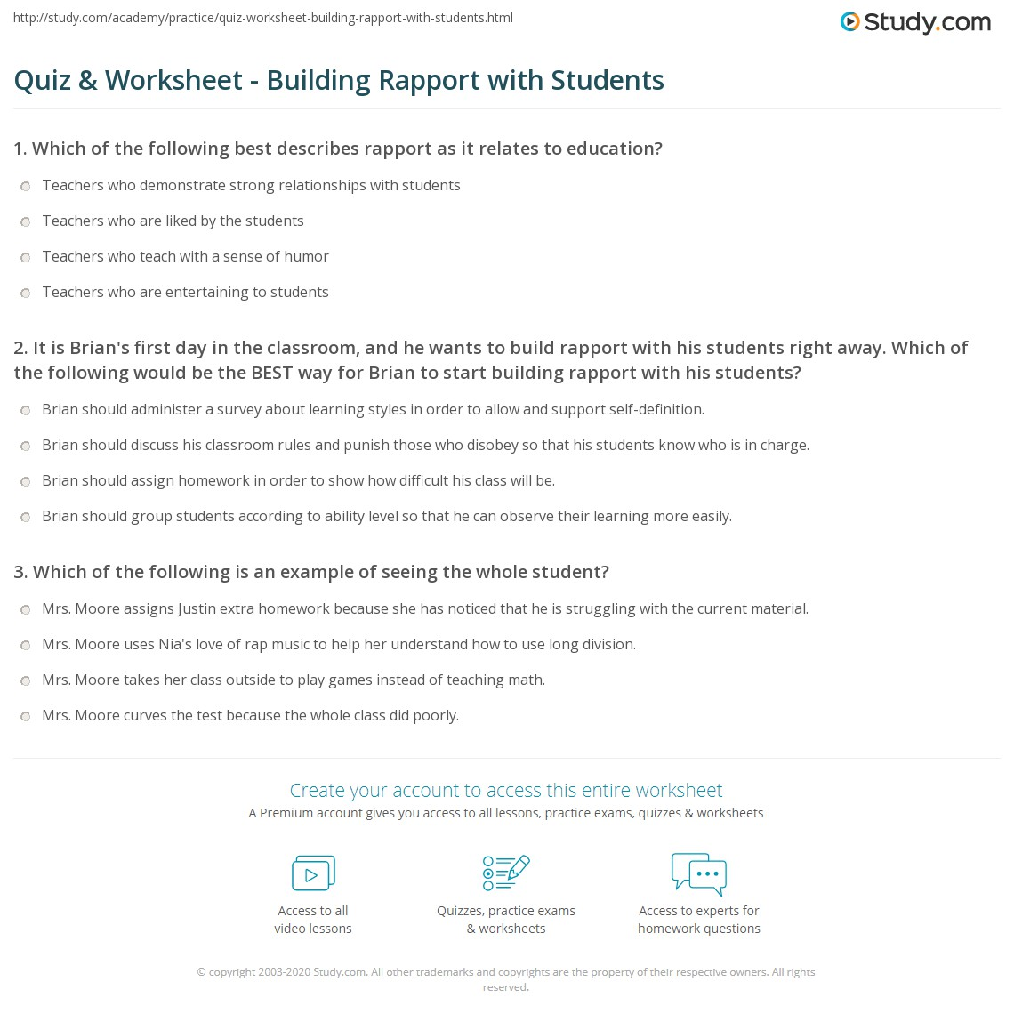 quiz worksheet building rapport with students. Black Bedroom Furniture Sets. Home Design Ideas