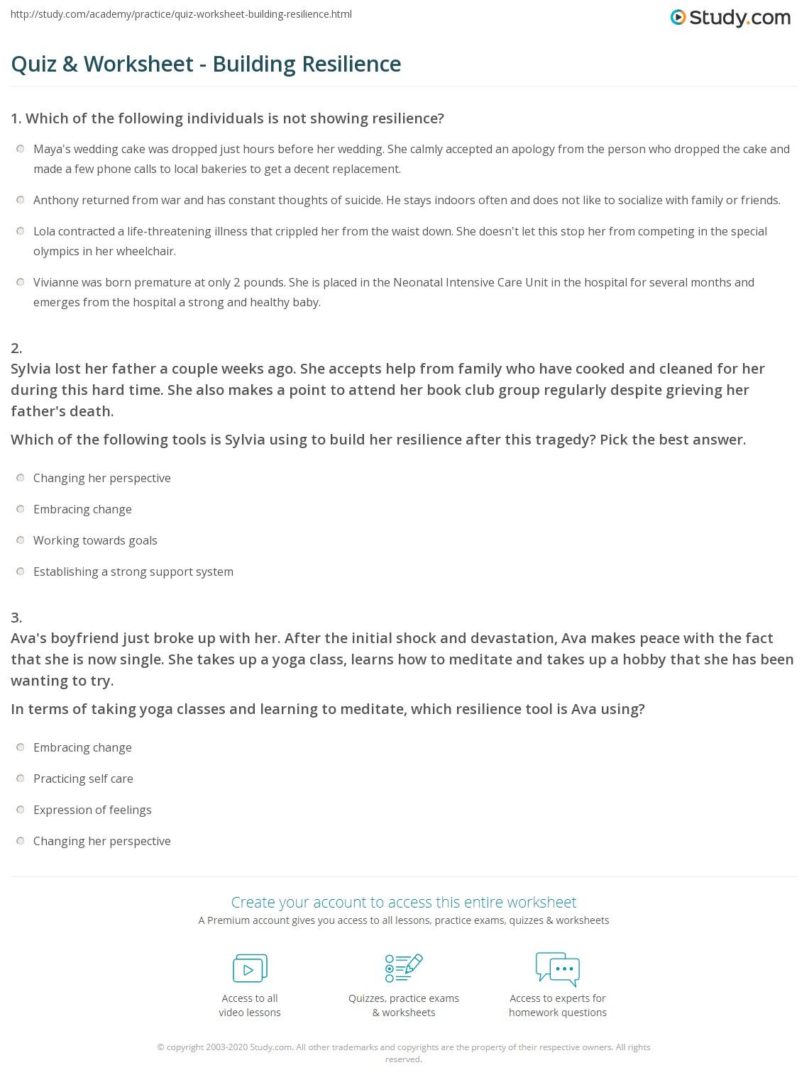 Quiz & Worksheet - Building Resilience | Study.com