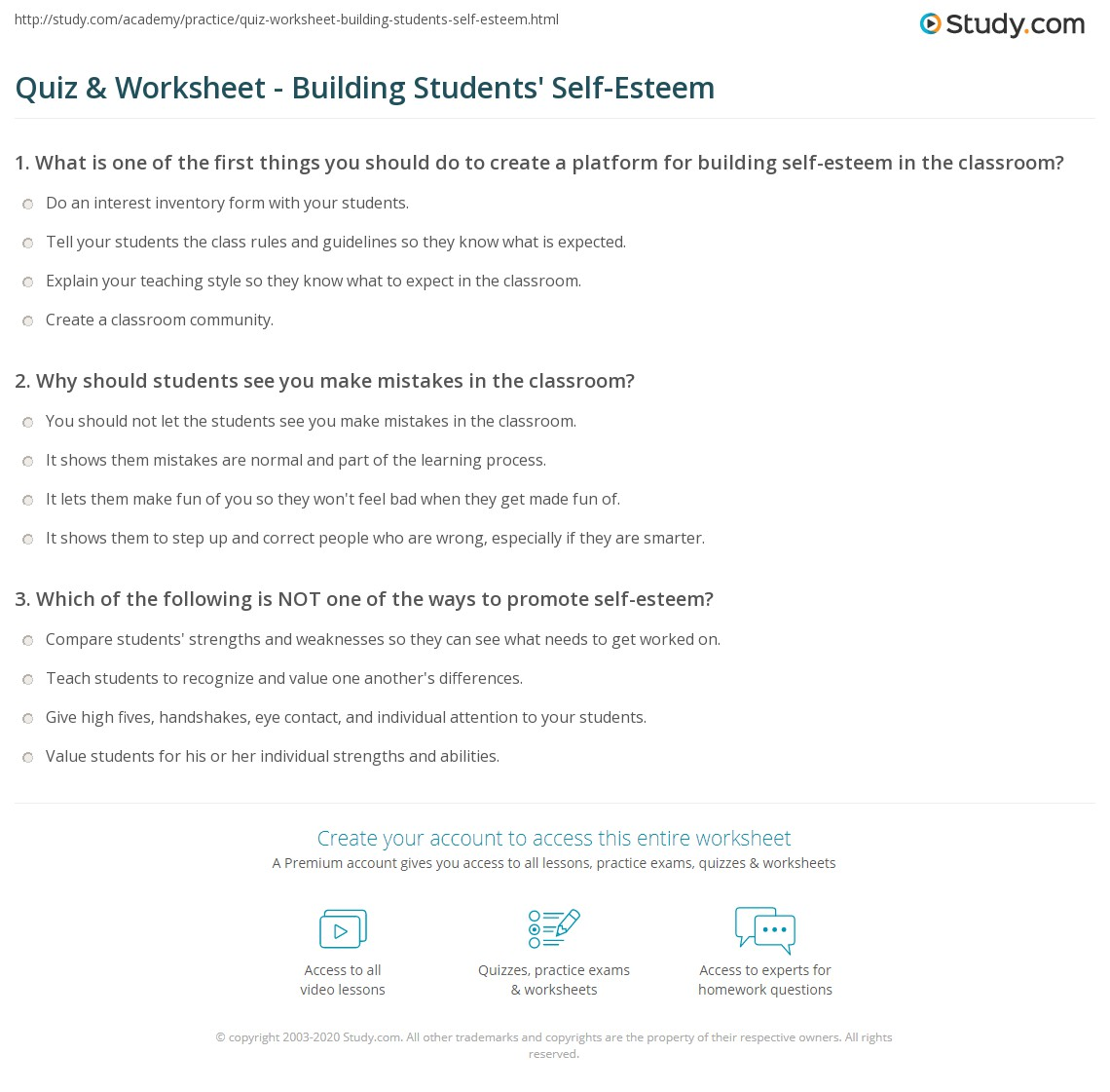 worksheet Self Esteem Building Worksheets quiz worksheet building students self esteem study com print promoting in the classroom worksheet