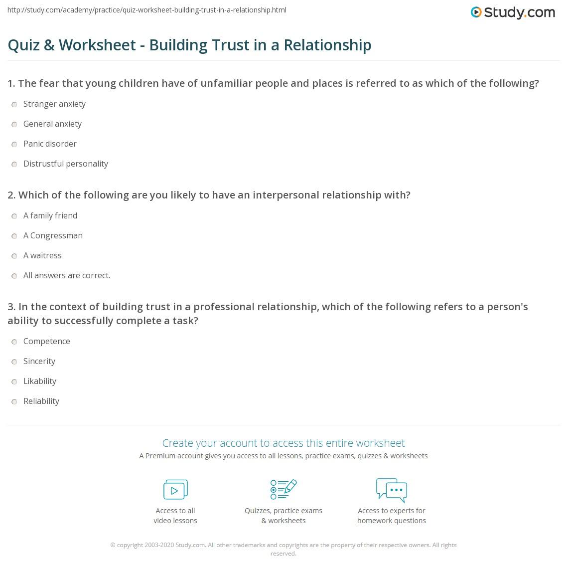 worksheet Relationship Counseling Worksheets quiz worksheet building trust in a relationship study com print how to build worksheet