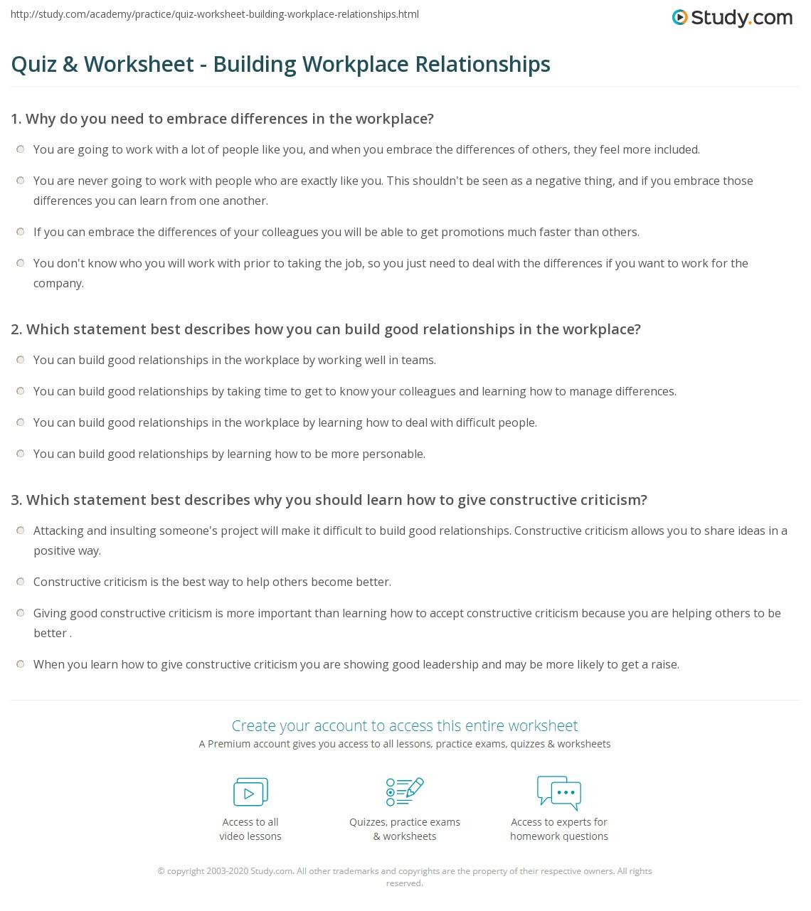Worksheets Building Healthy Relationships Worksheet quiz worksheet building workplace relationships study com print in the worksheet
