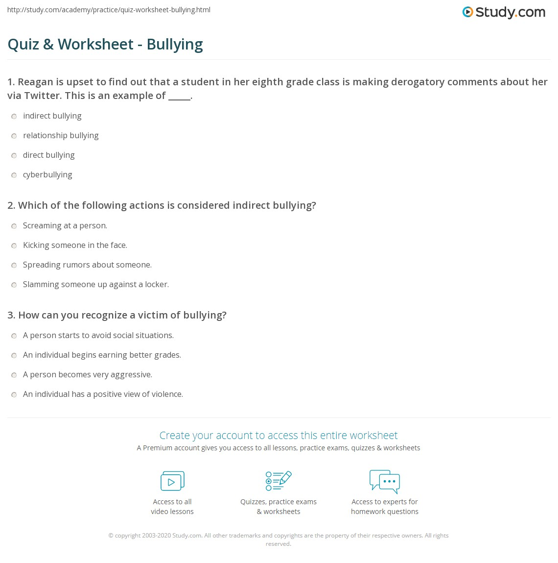 quiz worksheet bullying. Black Bedroom Furniture Sets. Home Design Ideas