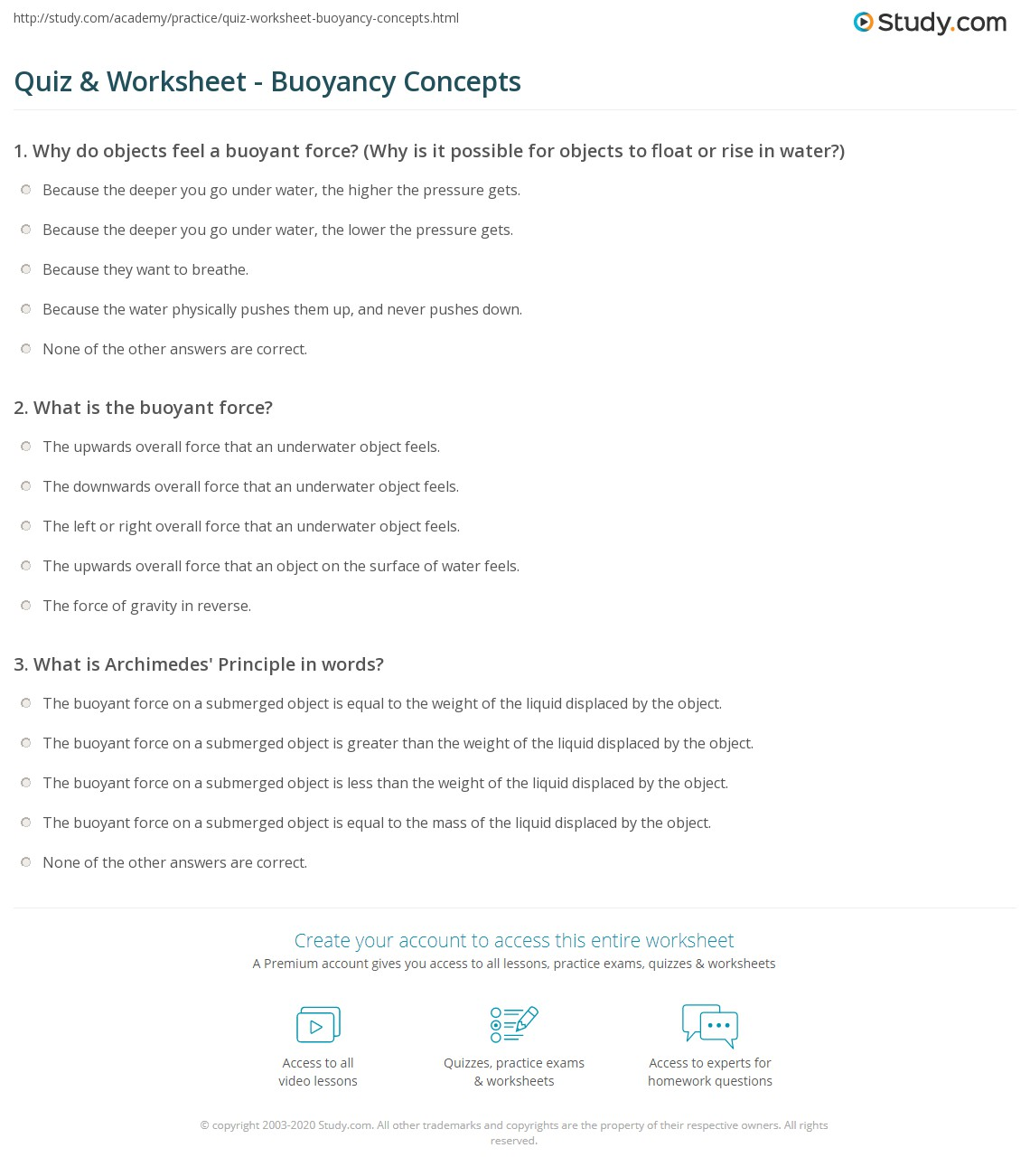 Worksheets Buoyancy Worksheet quiz worksheet buoyancy concepts study com print what is explanation equation worksheet