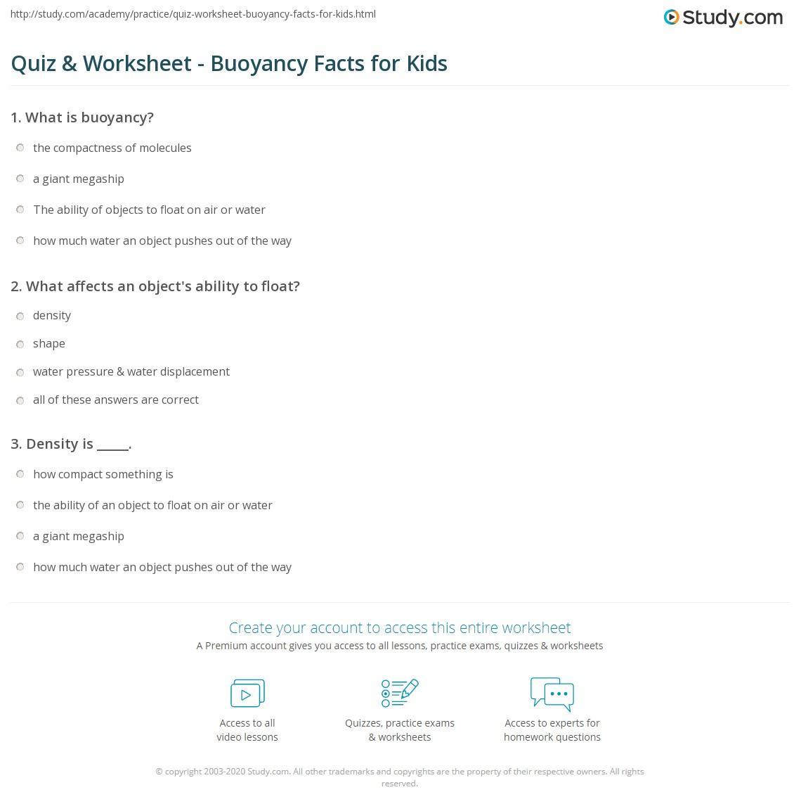 Worksheets Buoyancy Worksheet quiz worksheet buoyancy facts for kids study com print lesson worksheet