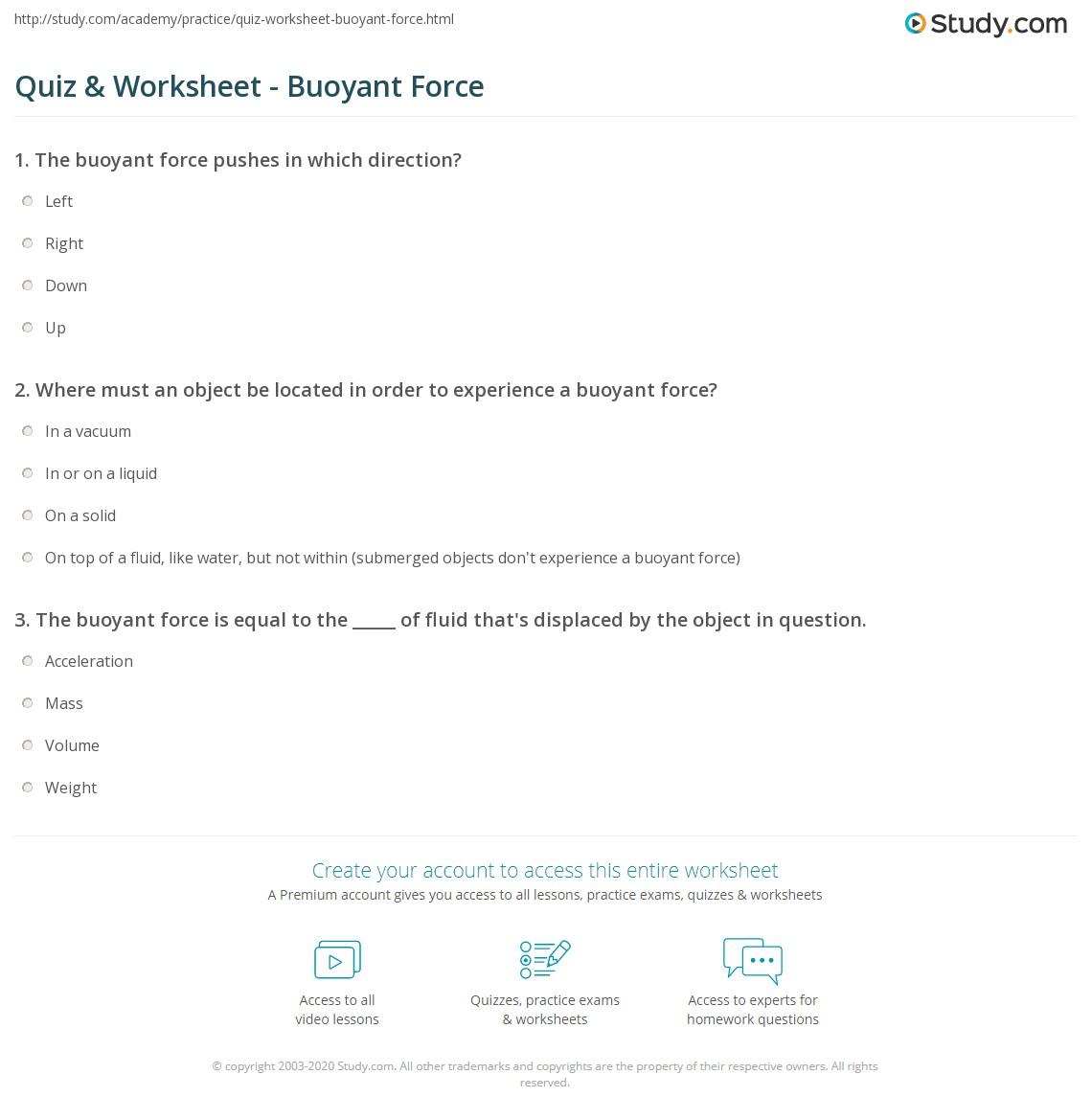 Worksheets Buoyancy Worksheet quiz worksheet buoyant force study com print definition equation examples worksheet
