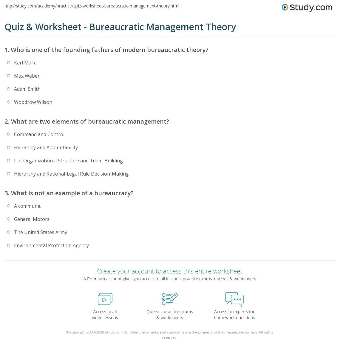 Quiz Worksheet Bureaucratic Management Theory Study