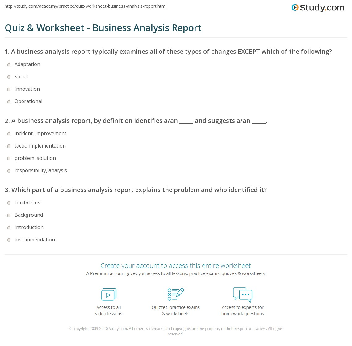 Print Business Analysis Report: Template U0026 Examples Worksheet