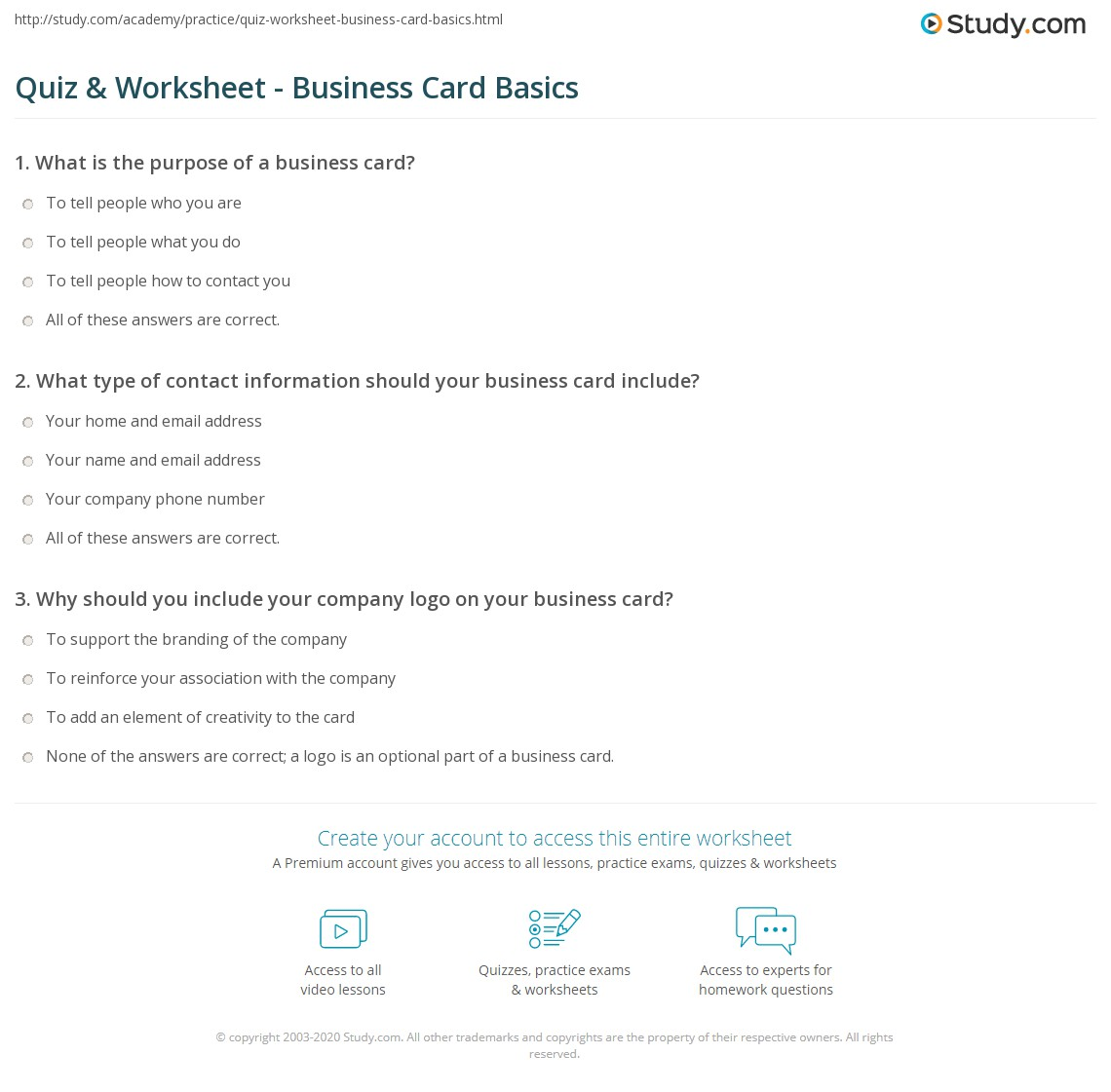 Quiz & Worksheet - Business Card Basics | Study.com