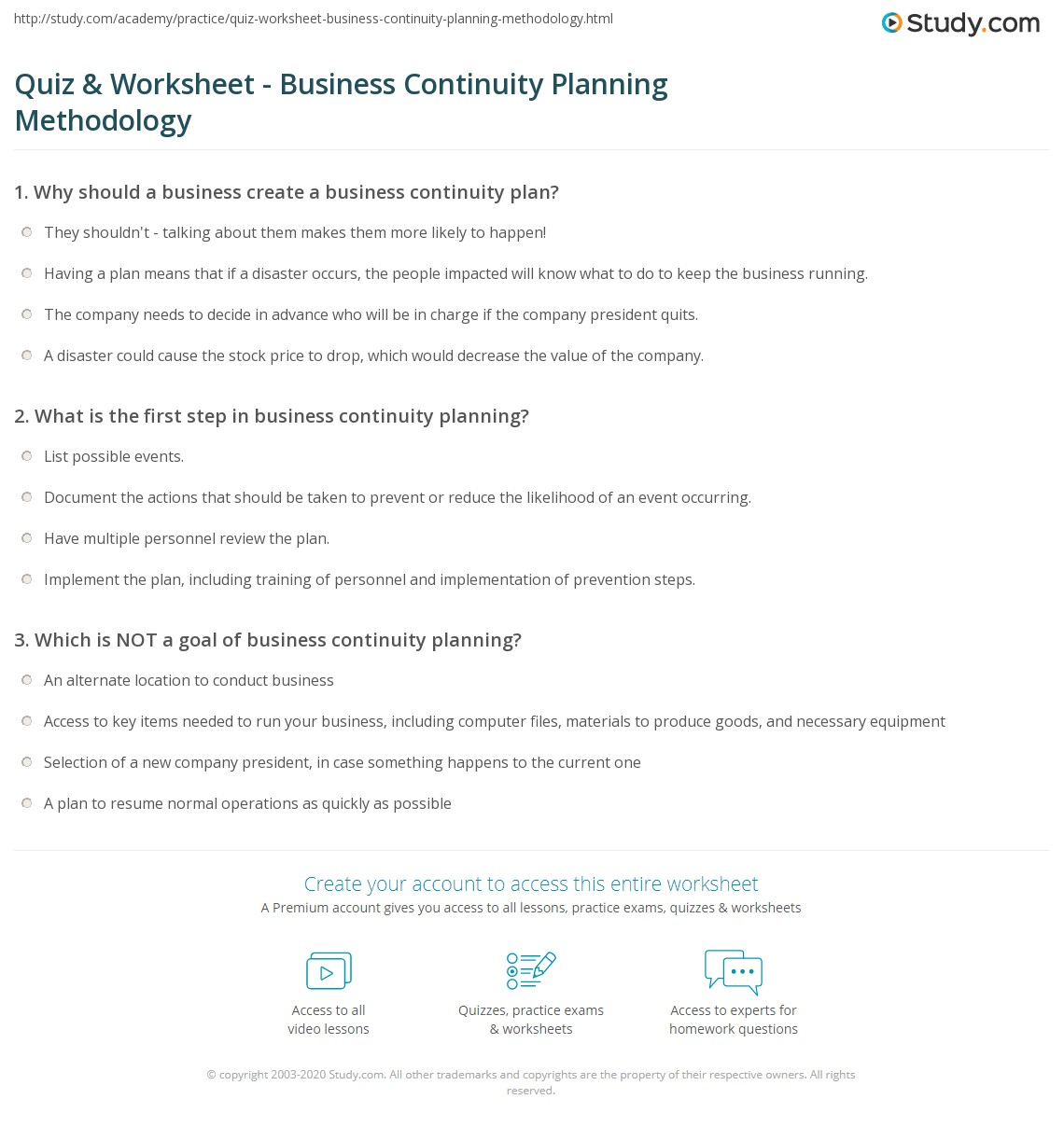 quiz worksheet business continuity planning methodology
