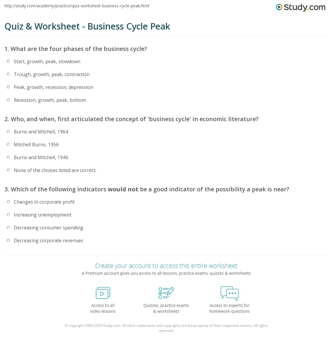 quiz worksheet business cycle peak. Black Bedroom Furniture Sets. Home Design Ideas